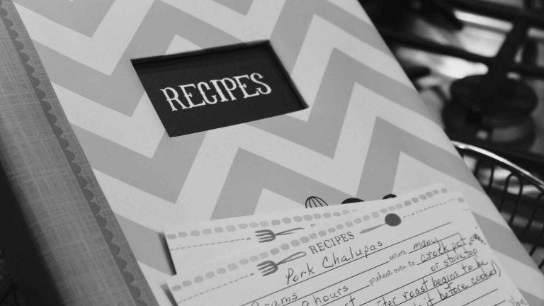 white and gray chevron print recipes book